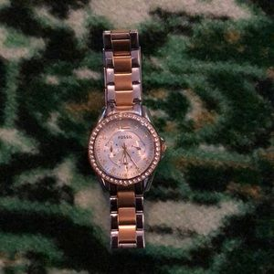 Fossil mixed metal watch with rhinestone face trim